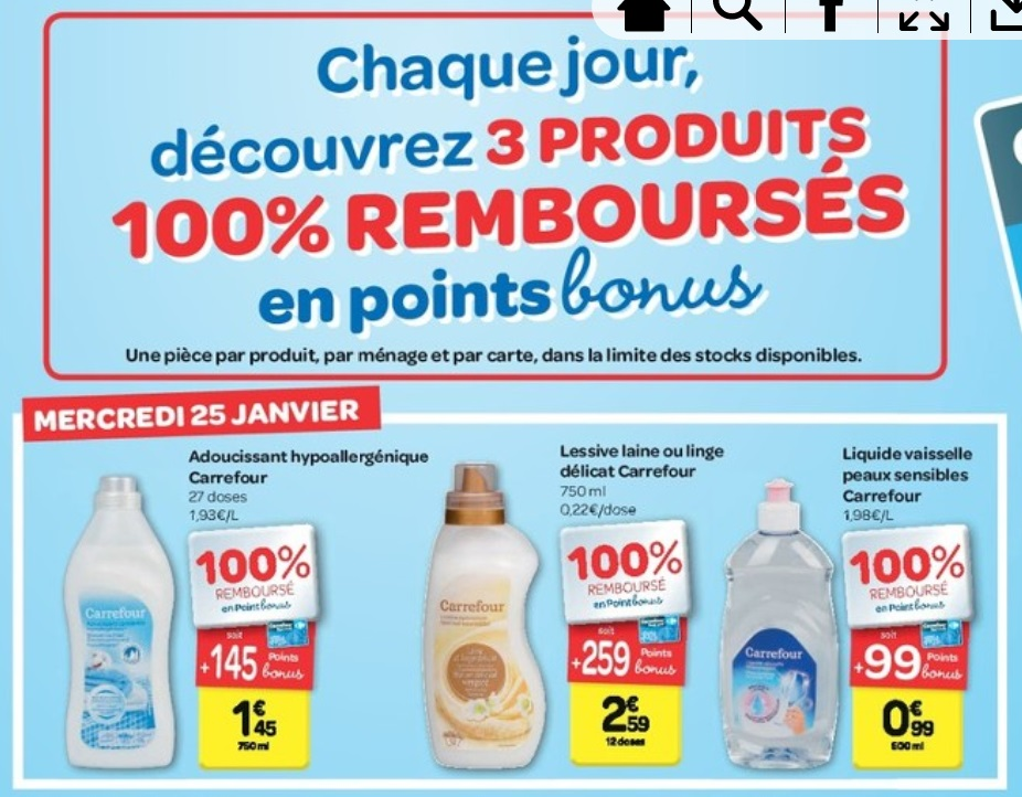 15 produits 100 rembours s en points bonus chez carrefour 30 01 2017 je suis malin. Black Bedroom Furniture Sets. Home Design Ideas