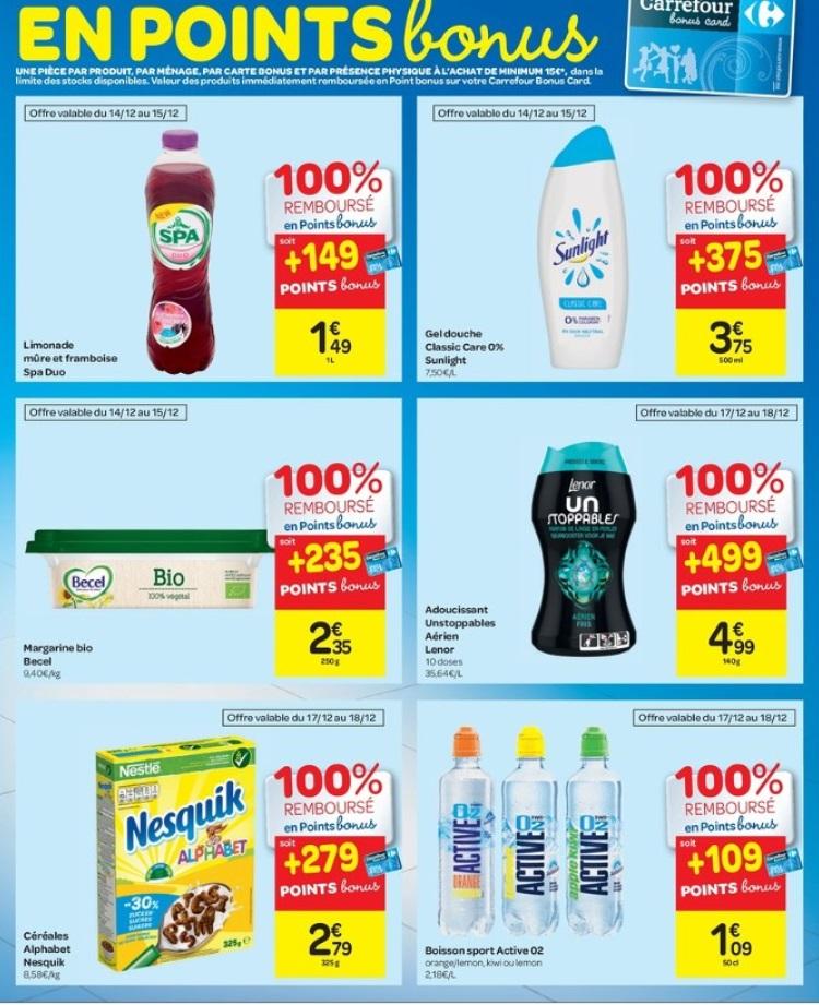 Produits gratuits chez Carrefour