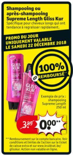 Shampooing ou après-shampooing Gliss Kur 100% remboursé chez Kruidvat