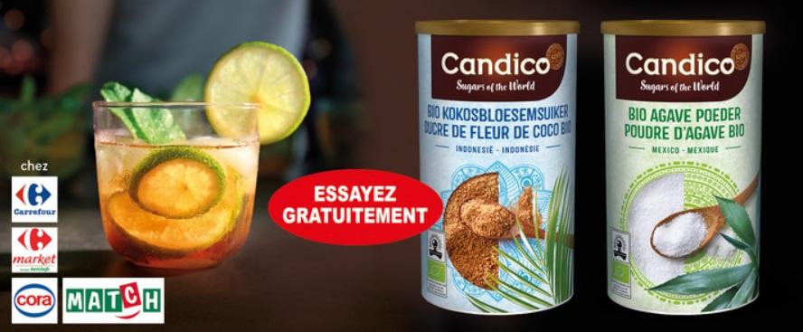 Sucre de fleur de coco ou poudre d'agave bio Candico gratuit