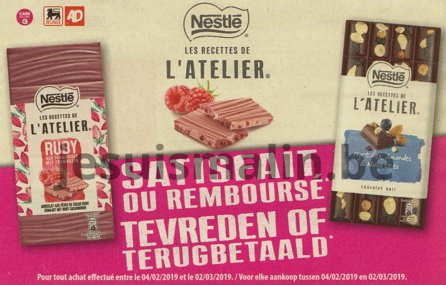 Chocolat Nestlé Les recettes de l'atelier 100% remboursé