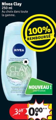 Gel douche Nivea Clay Fresh 100% remboursé chez Kruidvat