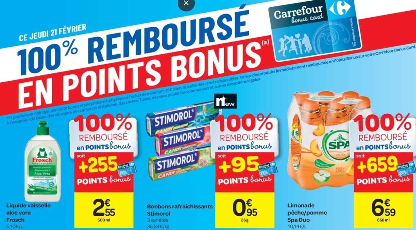 Produits 100% remboursés chez Carrefour le 21 février 2019