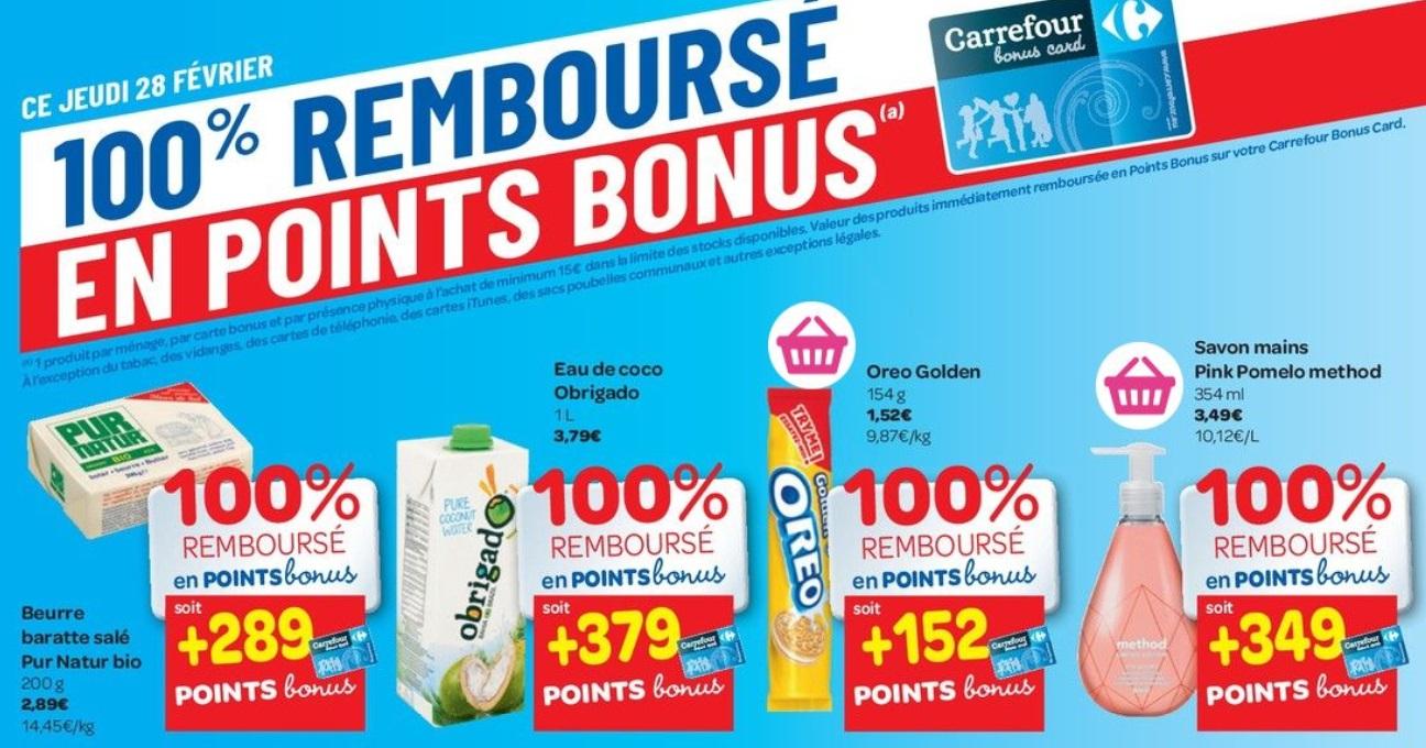 Produits 100% remboursé chez Carrefour le 28 février 2019