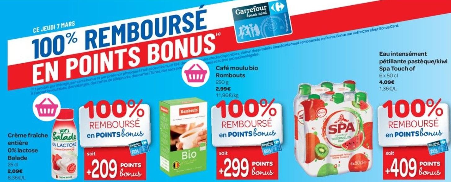 Produits 100% remboursé chez Carrefour le 7 mars 2019