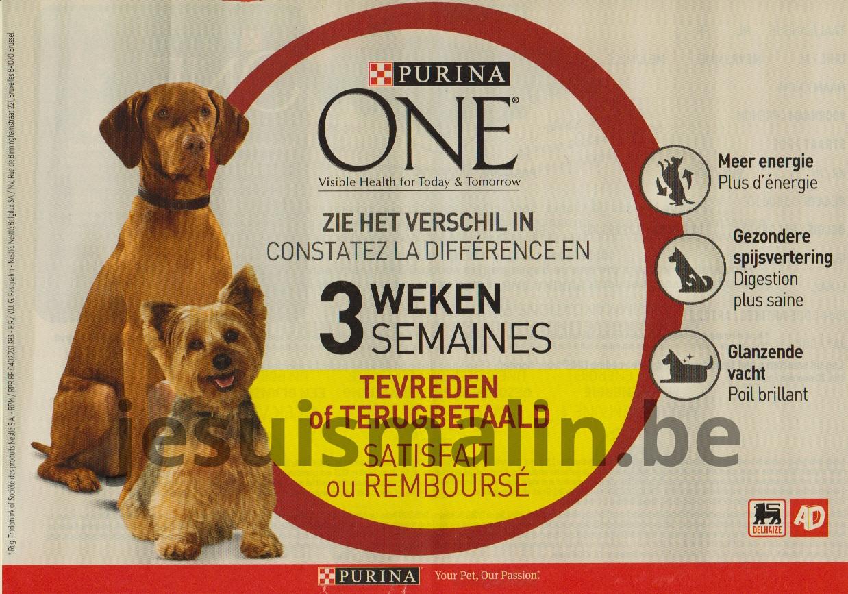 Aliments chiens Purina One 100% remboursé