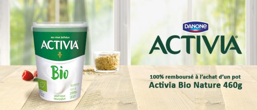 Yaourt Activia Bio Nature 100% remboursé