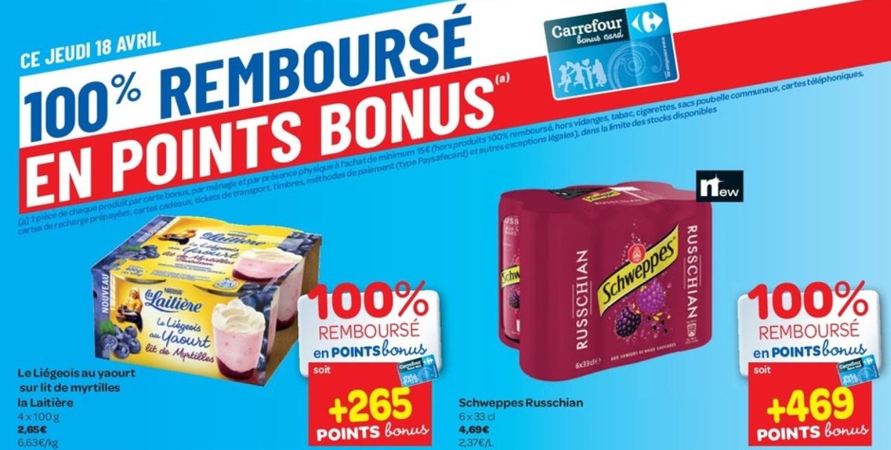 Produits 100% remboursé chez Carrefour Hyper le 18 avril 2019