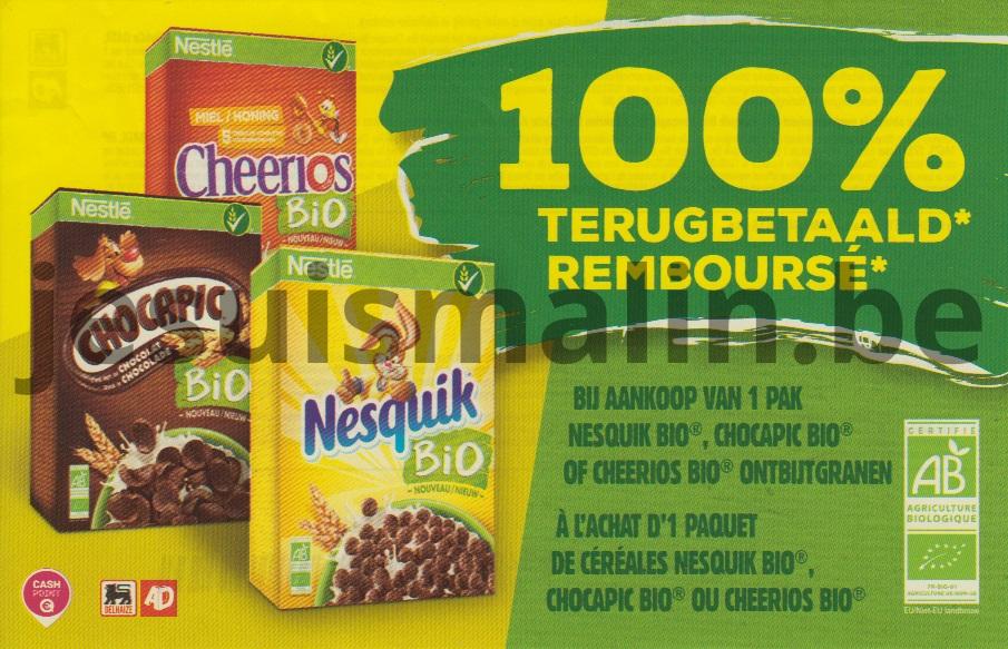 Nesquik bio, Chocapic bio ou Cheerios bio 100% remboursé