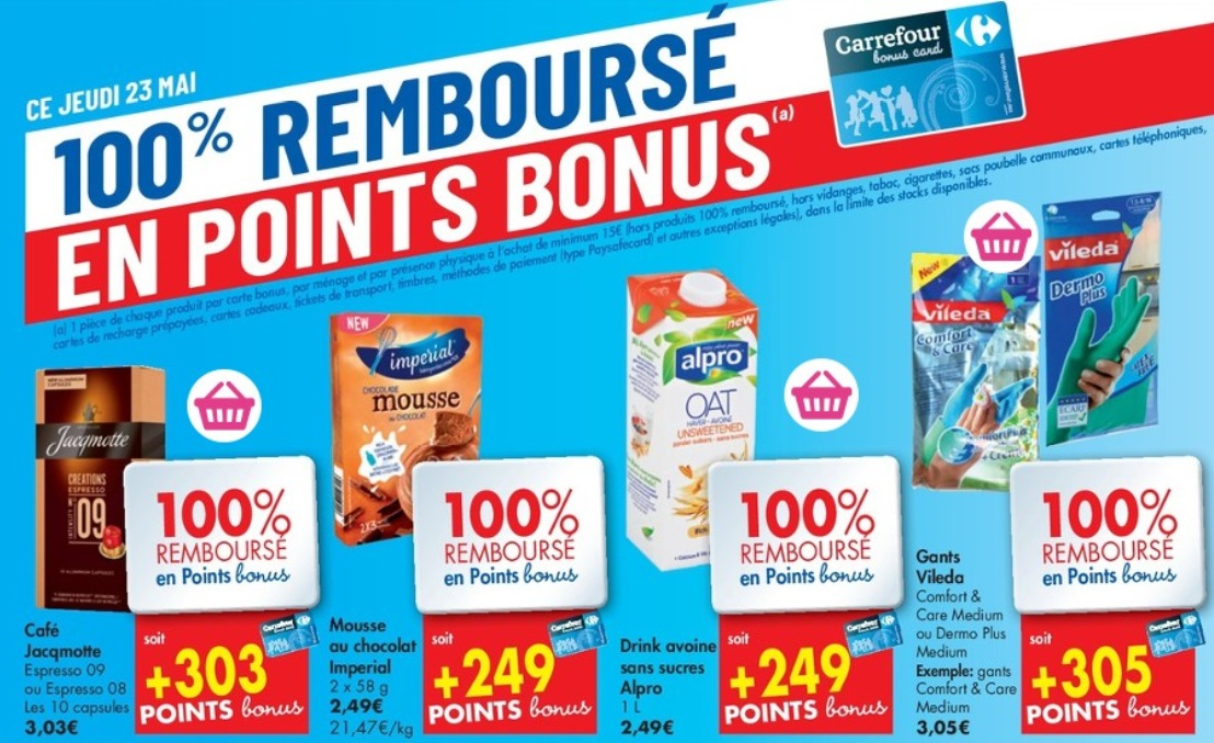 Produits 100% remboursés chez Carrefour Hyper