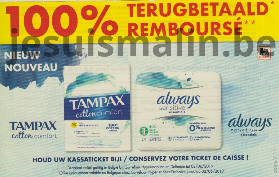 Serviettes hygiéniques ou tampons Tampax 100% remboursé