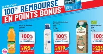 Produits 100% remboursé chez Carrefour le 1er août 2019