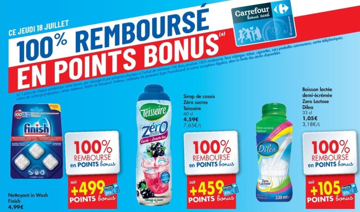 Produits 100% remboursé chez Carrefour le 18 juillet 2019