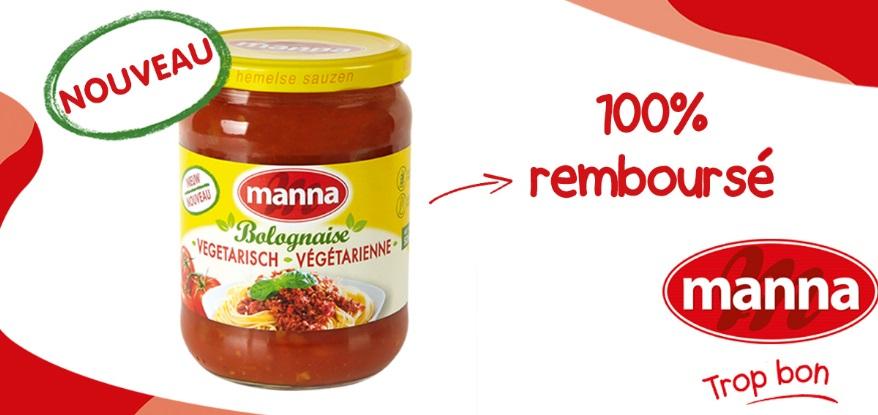 Sauce bolognaise végétarienne Manna 100% remboursé avec myShopi