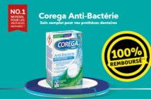 Tablettes nettoyantes pour prothèses dentaires Corega 100% remboursé chez Kruidvat