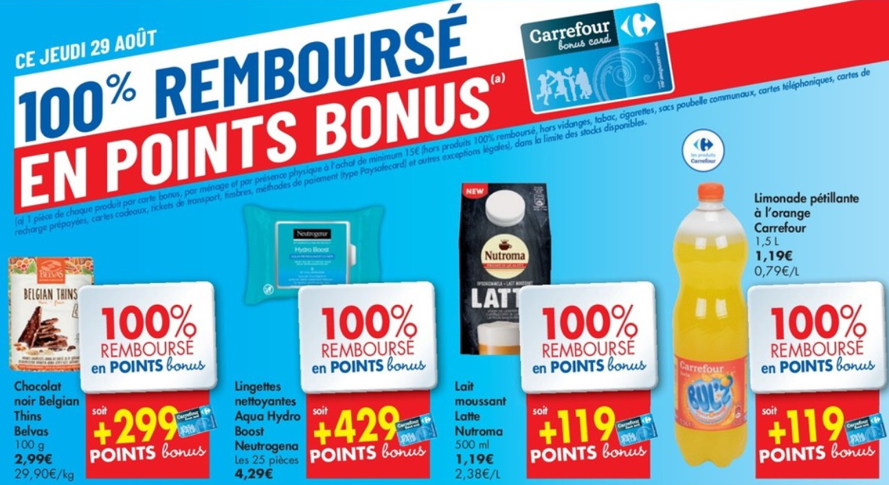 Produits 100% remboursés chez Carrefour le 29 août 2019