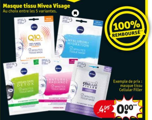 Masque en tissu pour le visage Nivea 100% remboursé chez Kruidvat
