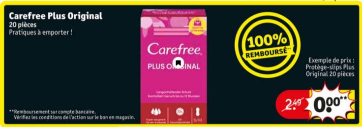 Protège-slips Carefree 100% remboursé chez Kruidvat