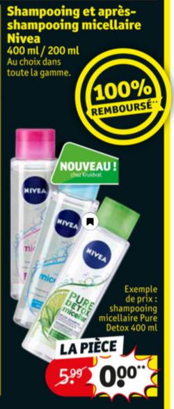 Shampooing ou après-shampooing Micellar Nivea 100% remboursé chez Kruidvat