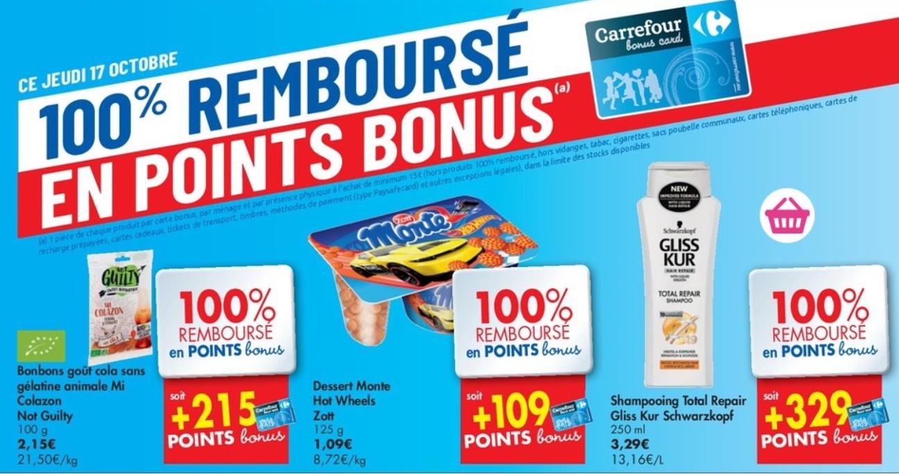 Produits 100% remboursés chez Carrefour le 17 octobre 2019
