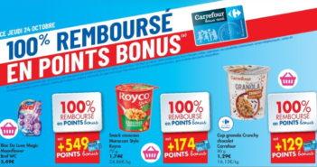 Produits 100% remboursés chez Carrefour le 24 octobre 2019
