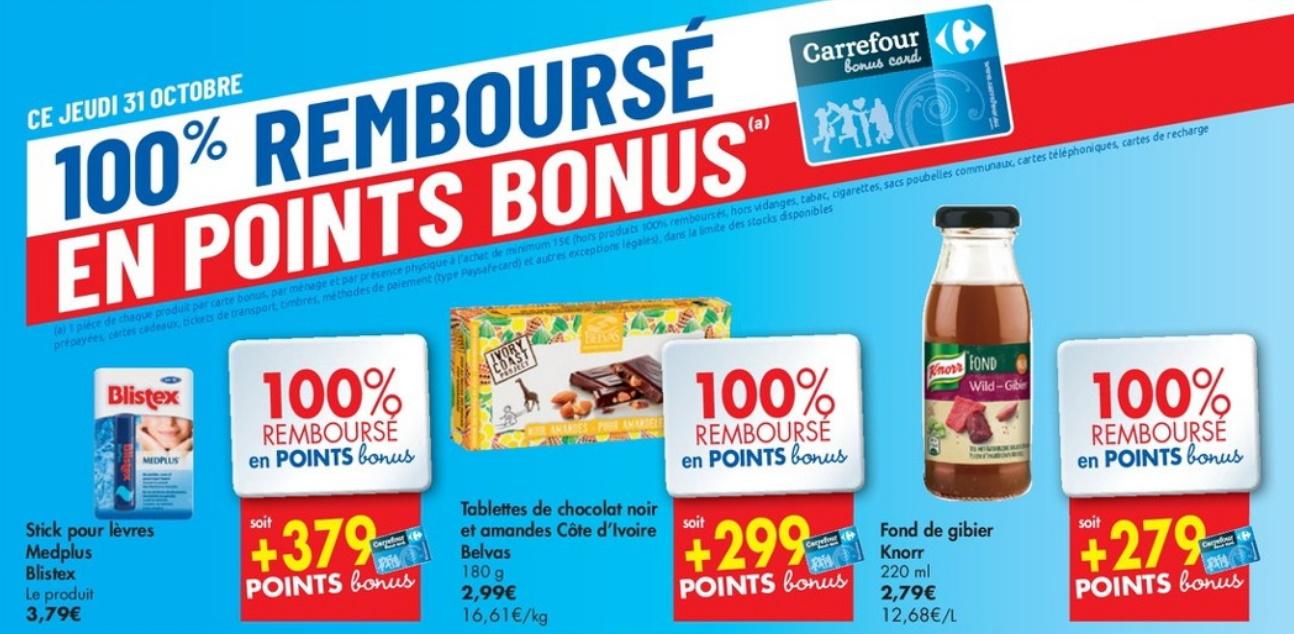 Produits 100% remboursé chez Carrefour le 31 octobre 2019