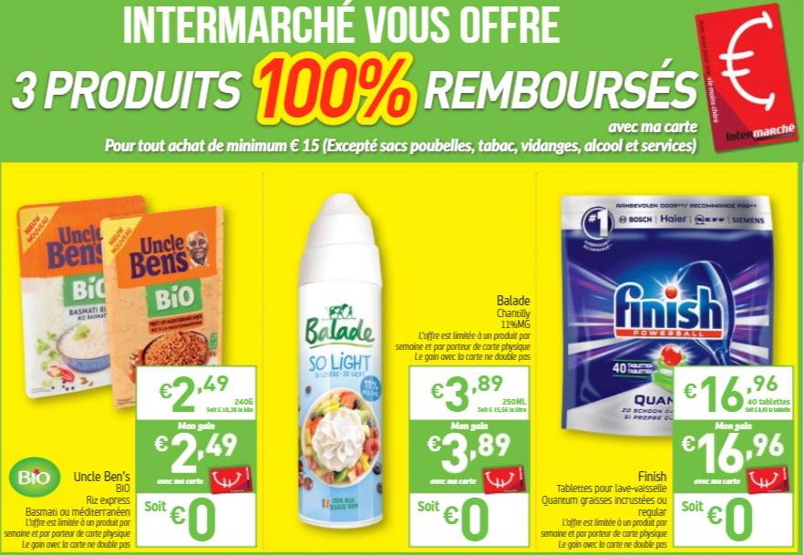 Produits 100% remboursés chez Intermarché en octobre 2019