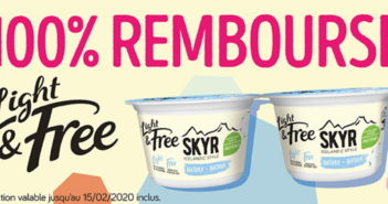 Yaourt Skyr Light & Free 100% remboursé