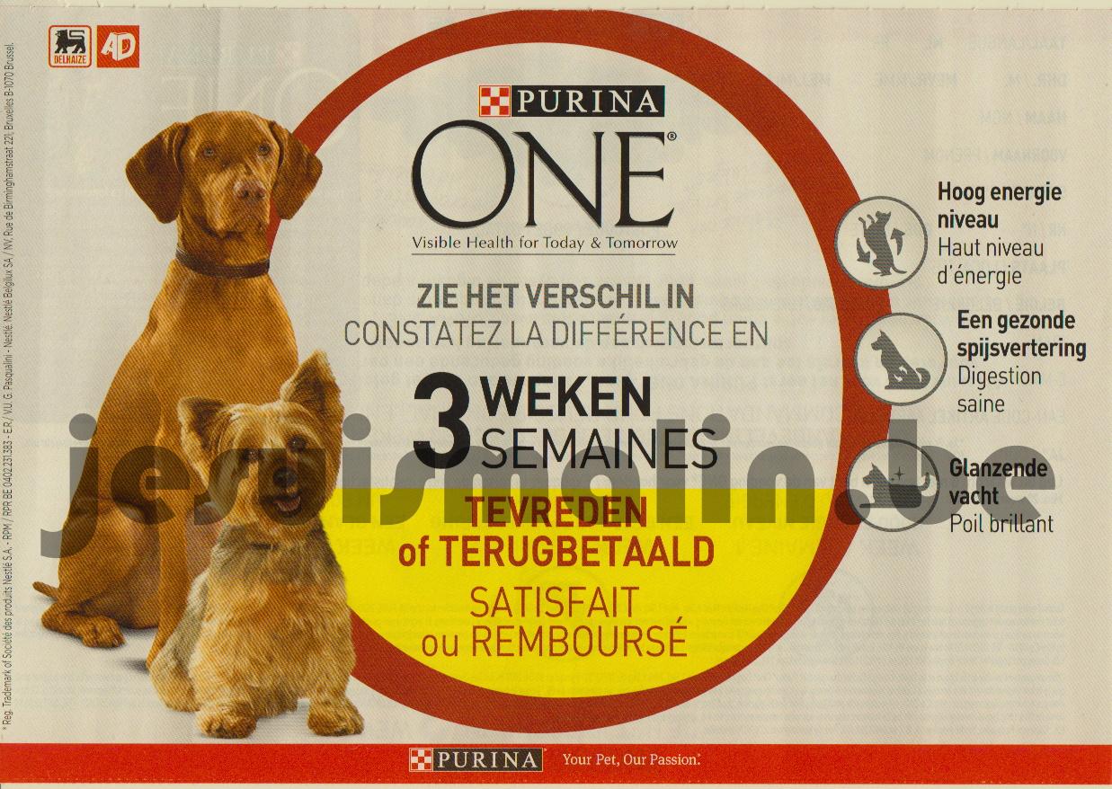 Alimentation pour chiens Purina One 100% remboursé