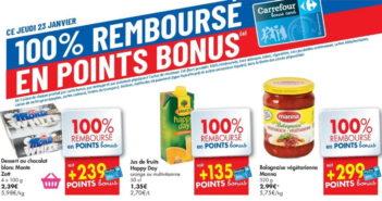 Produits 100% remboursé chez Carrefour le 23 janvier 2020