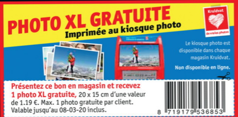 Impression photo gratuite chez Kruidvat