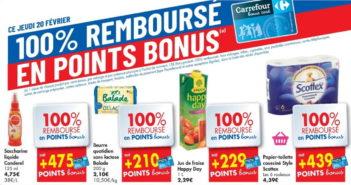 Produits 100% remboursé chez Carrefour le 20 février 2020