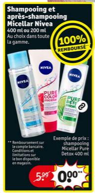 Shampooing ou après-shampooing micellaire Nivea 100% remboursé chez Kruidvat