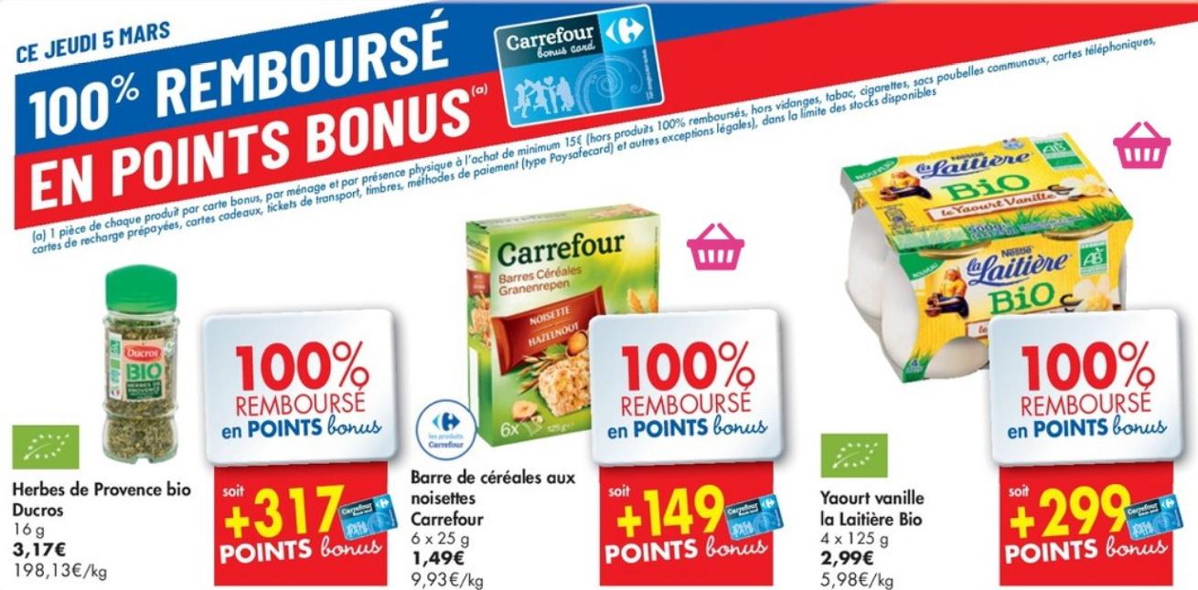 Produits 100% remboursé chez Carrefour le 5 mars 2020