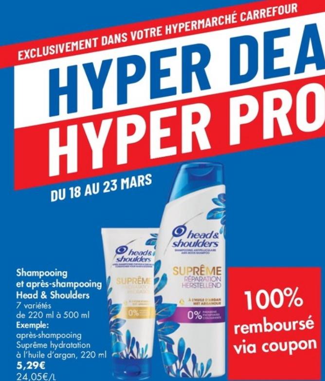 Shampooing ou après-shampooing Head & Shoulders 100% remboursé