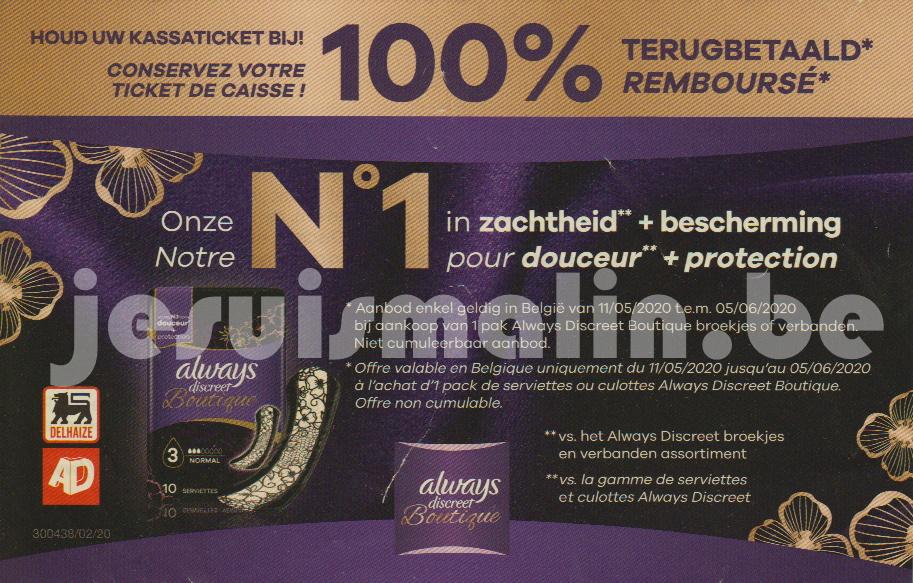 Protection hygiénique Always Discreet Boutique 100% remboursé