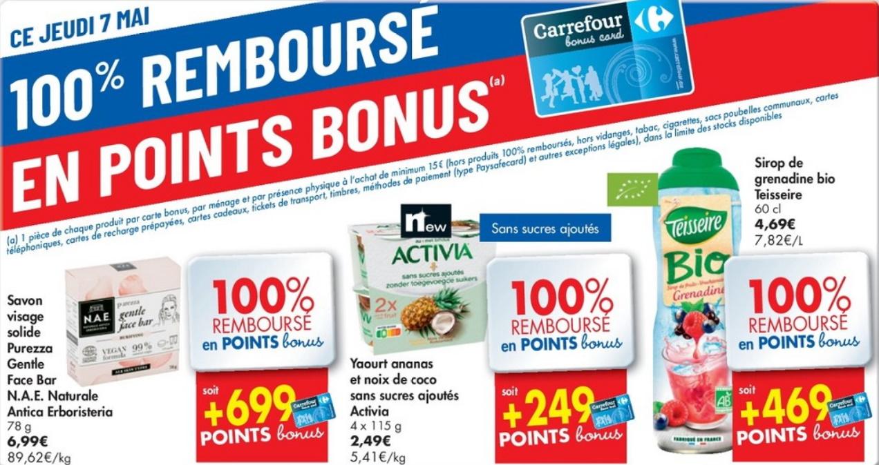 Produits 100% remboursé chez Carrefour le 7 mai 2020