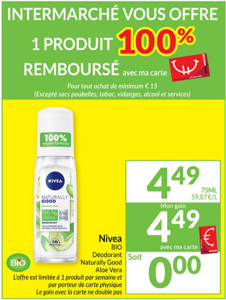 Déodorant Nivea Naturally Good 100% remboursé