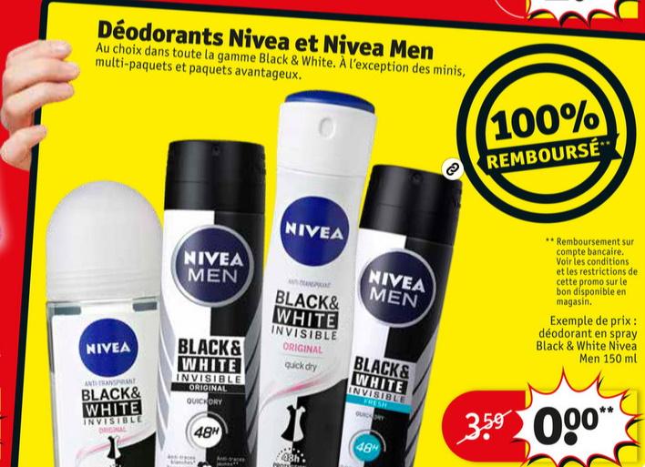 Déodorant Nivea Blanc and White 100% remboursé