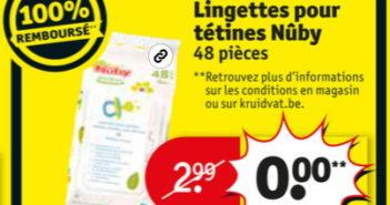 Lingettes pour tétines Nûby 100% remboursé