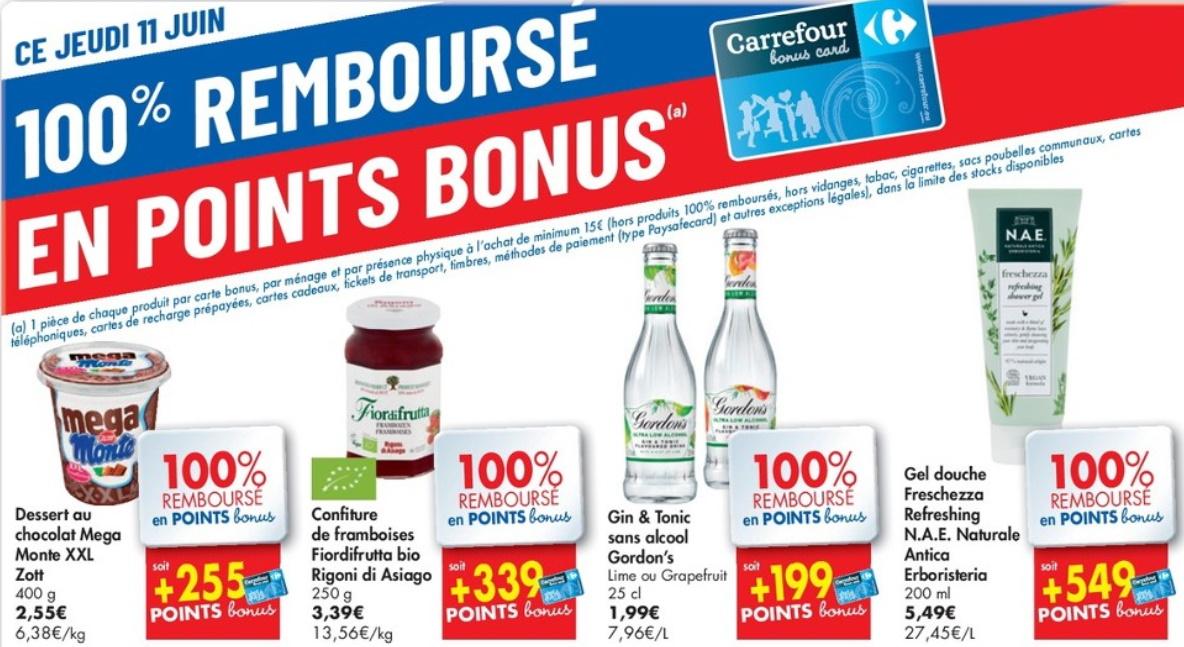Produits 100% remboursé chez Carrefour le 11 juin 2020