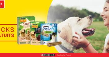 Snacks pour chiens Friskies et Purina gratuits