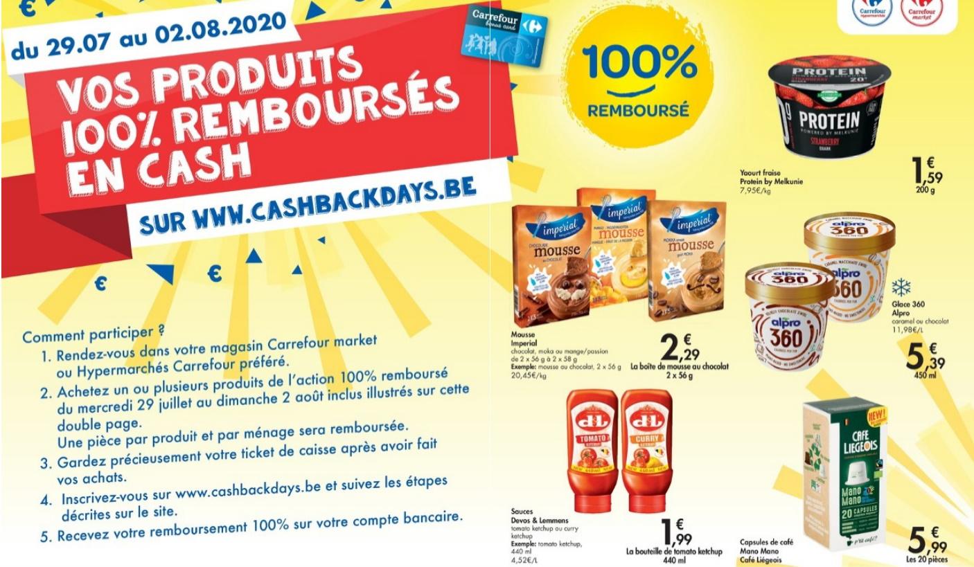 Produits gratuits chez Carrefour lors des Cashback Days