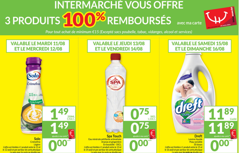 Produits 100% remboursé chez Intermarché