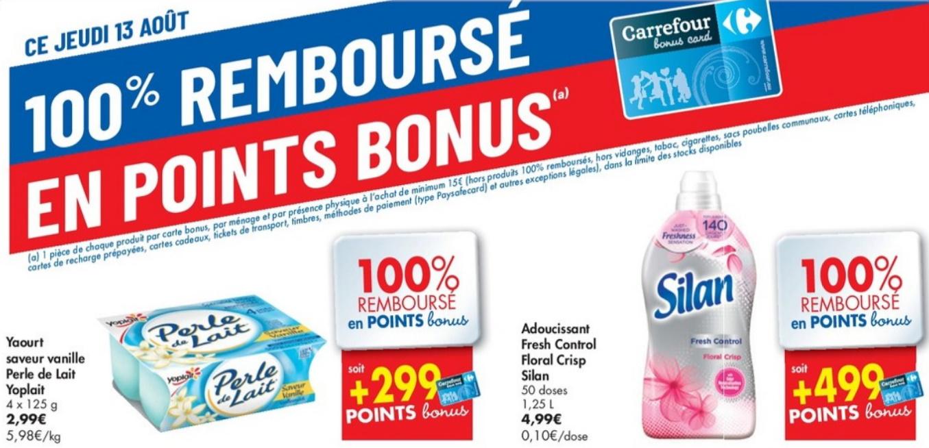 Produits 100% remboursé chez Carrefour le 13 août 2020