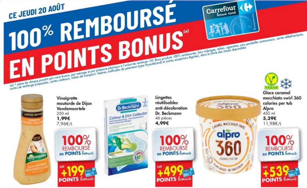 Produits 100% remboursé chez Carrefour le 20 août 2020
