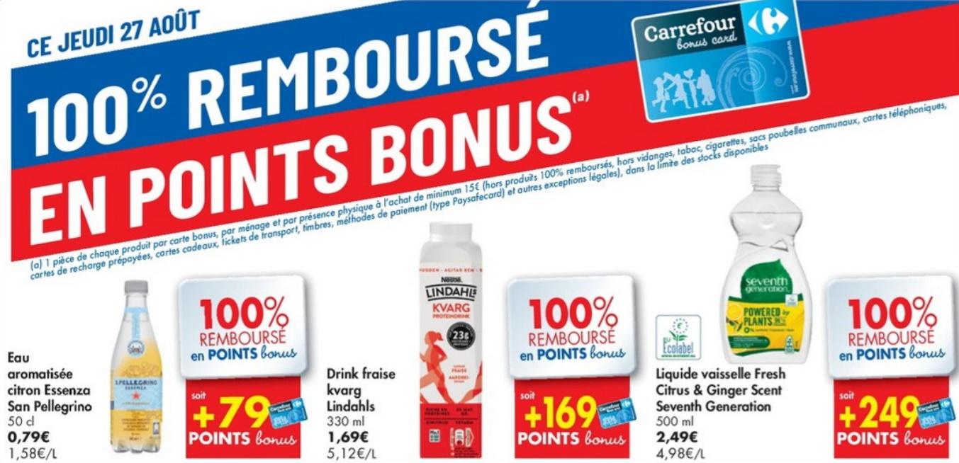 Produits 100% remboursé chez Carrefour le 27 août 2020