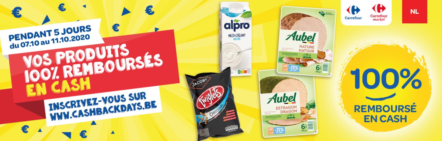 Produits 100% remboursé chez Carrefour avec les cashbackdays