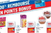 Produits 100% remboursé chez Carrefour le 1er octobre 2020