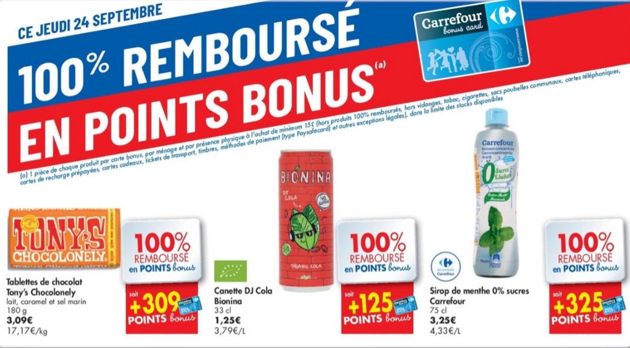 Produits 100% remboursé chez Carrefour le 24 septembre 2020